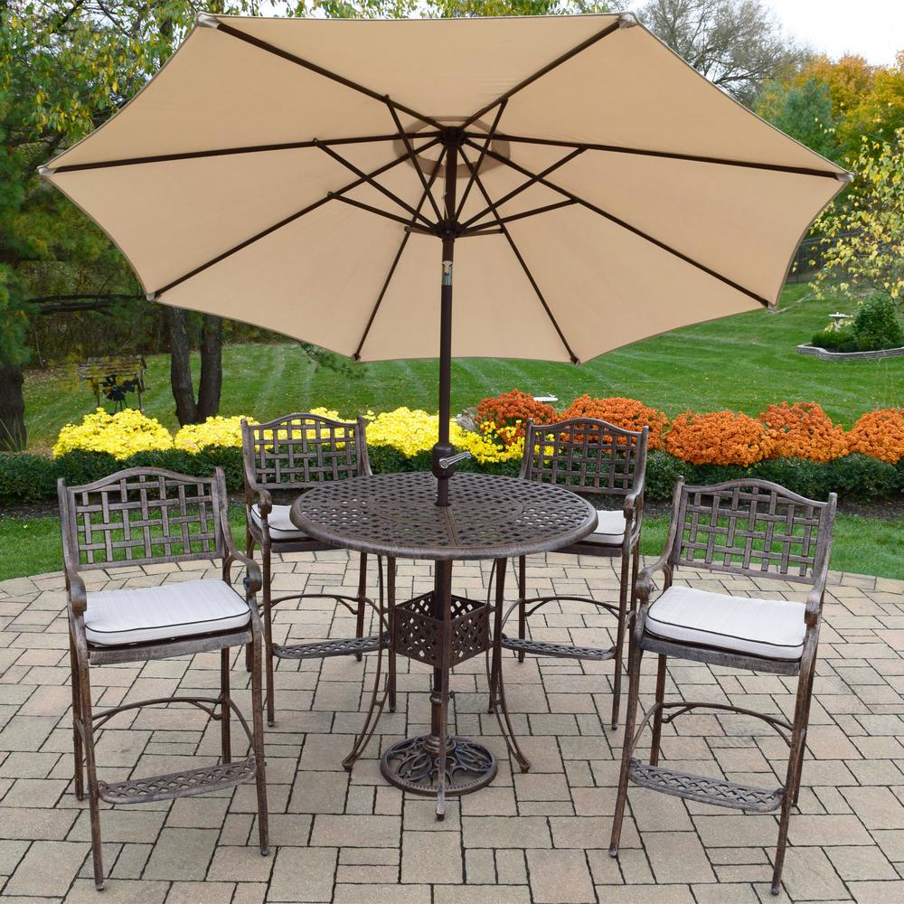 Elite 7 Piece Aluminum Outdoor Bar Height Dining Set With Oatmeal