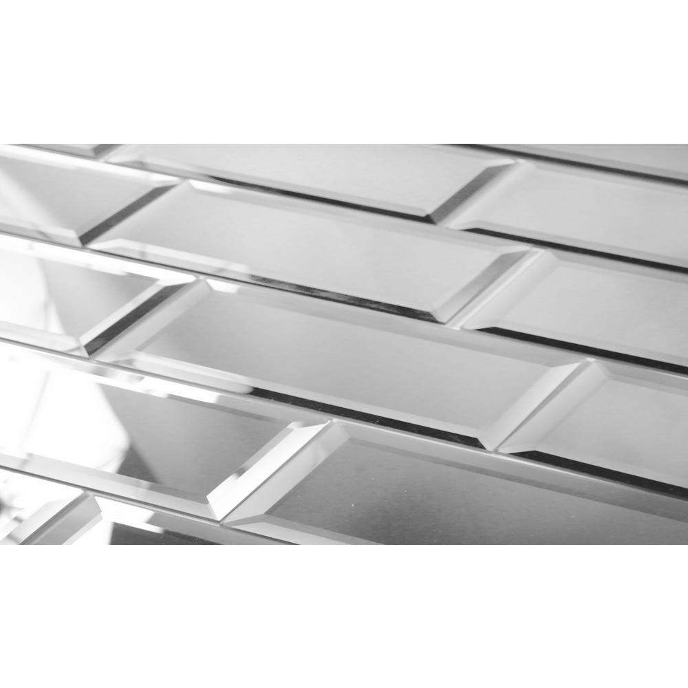 "Subway 3"" x 12"" Silver Gray Beveled Glossy Glass Mirror Peel & Stick Decorative Bathroom Wall Tile Backsplash (4 Pc/Pk)"