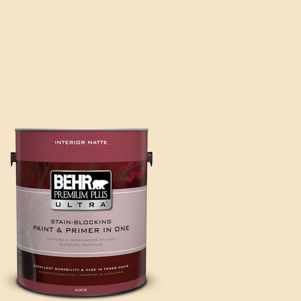 BEHR Premium Plus Ultra 1 gal. #330C-2 Lightweight Beige Flat/Matte Interior Paint