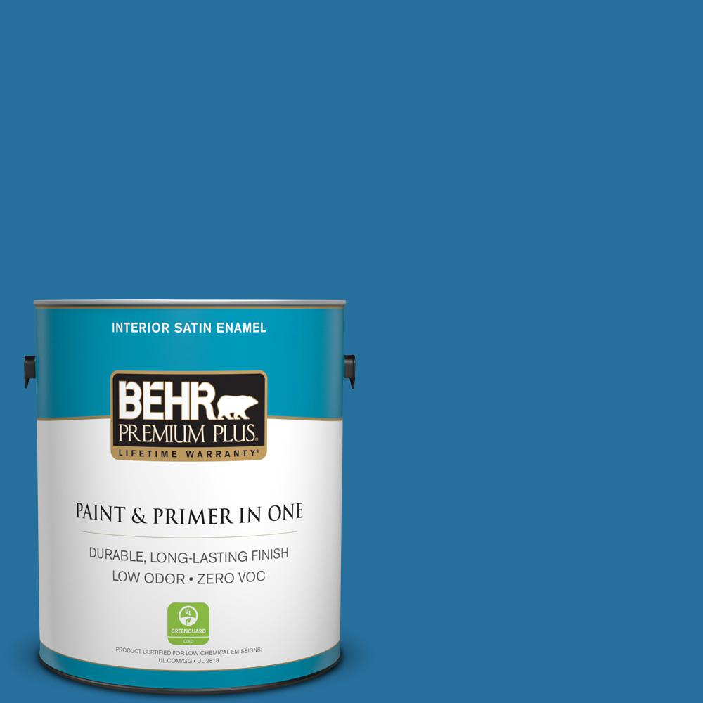 1-gal. #550B-7 Blue Ocean Zero VOC Satin Enamel Interior Paint