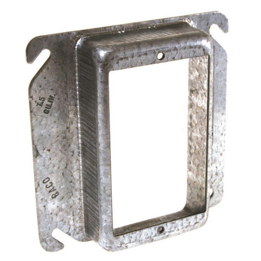 4 in. Square 1-Device Mud Ring with 1/2 in. Raised