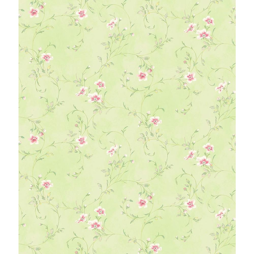 Chesapeake Capri Mint Floral Scroll Wallpaper Sample Has54637sam