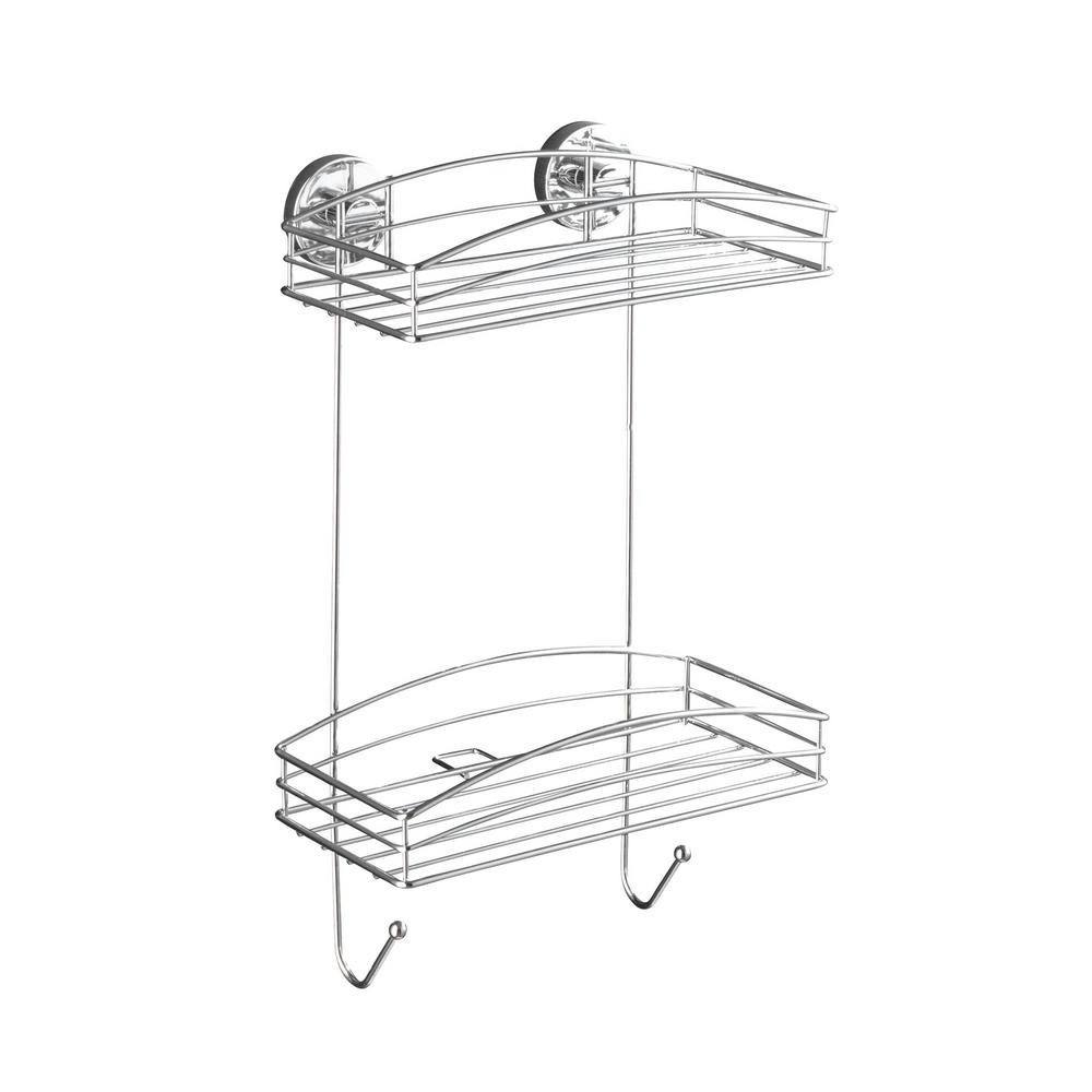 Wenko Vacuum Loc 2-Tier Wall Shelf in Chrome-20886100 - The Home Depot