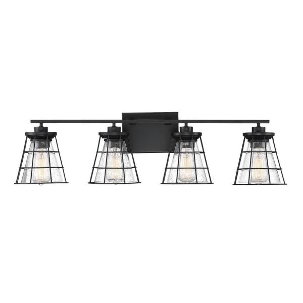 4-Light Black Bath Vanity Light with Clear Seeded Glass