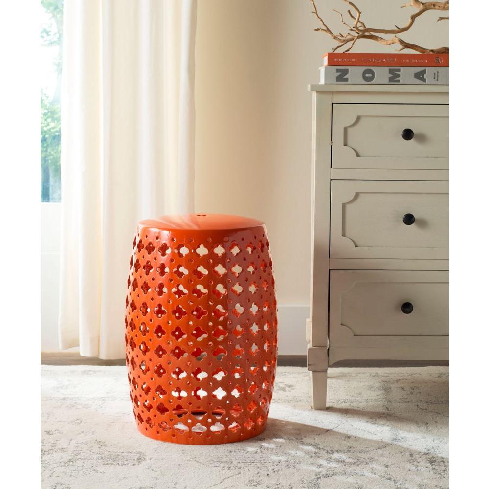 Safavieh Lacey Orange Patio Stool Acs4531d The Home Depot