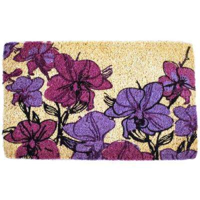 Hand Drawn Orchids 18 in. x 30 in. Hand Woven Coconut Fiber Door Mat