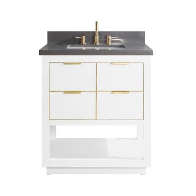 Allie 31 in. W x 22 in. D Bath Vanity in White with Gold Trim with Quartz Vanity Top in Gray with White Basin