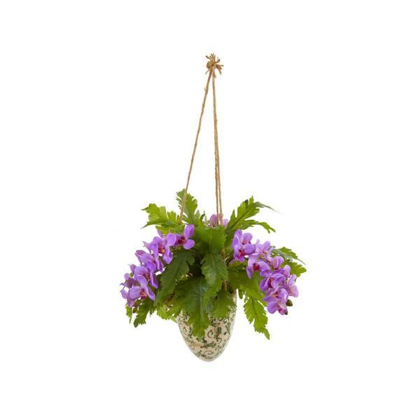 26 in. Phalaenopsis Orchid and Fern Artificial Plant in Hanging Vase