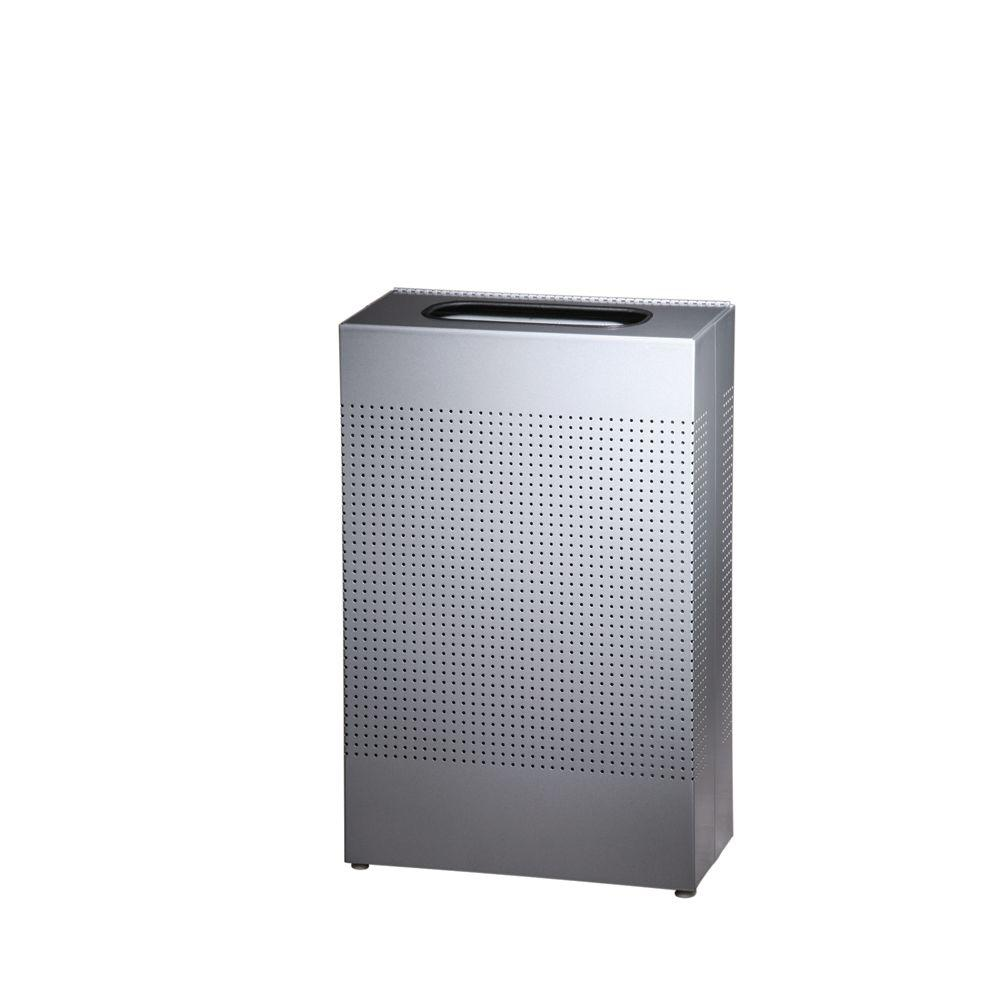 Rubbermaid Commercial Products 13 Gal. Silhouette Silver Metallis Rectangular Waste Receptacle