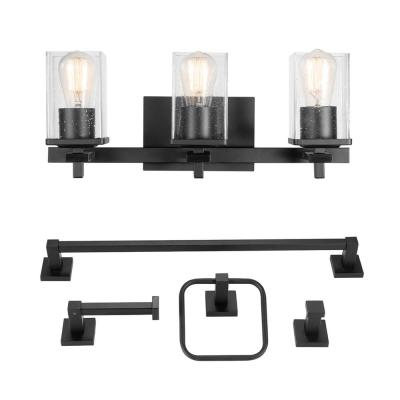 Dakota 20 in. 3-Light Matte Black Vanity Light with Accessories