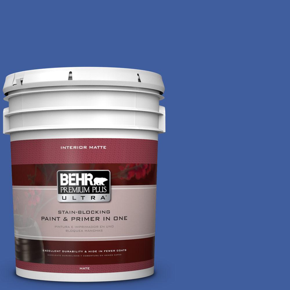 BEHR Premium Plus Ultra 5 gal. #BIC-21 Blue Dahlia Matte Interior Paint