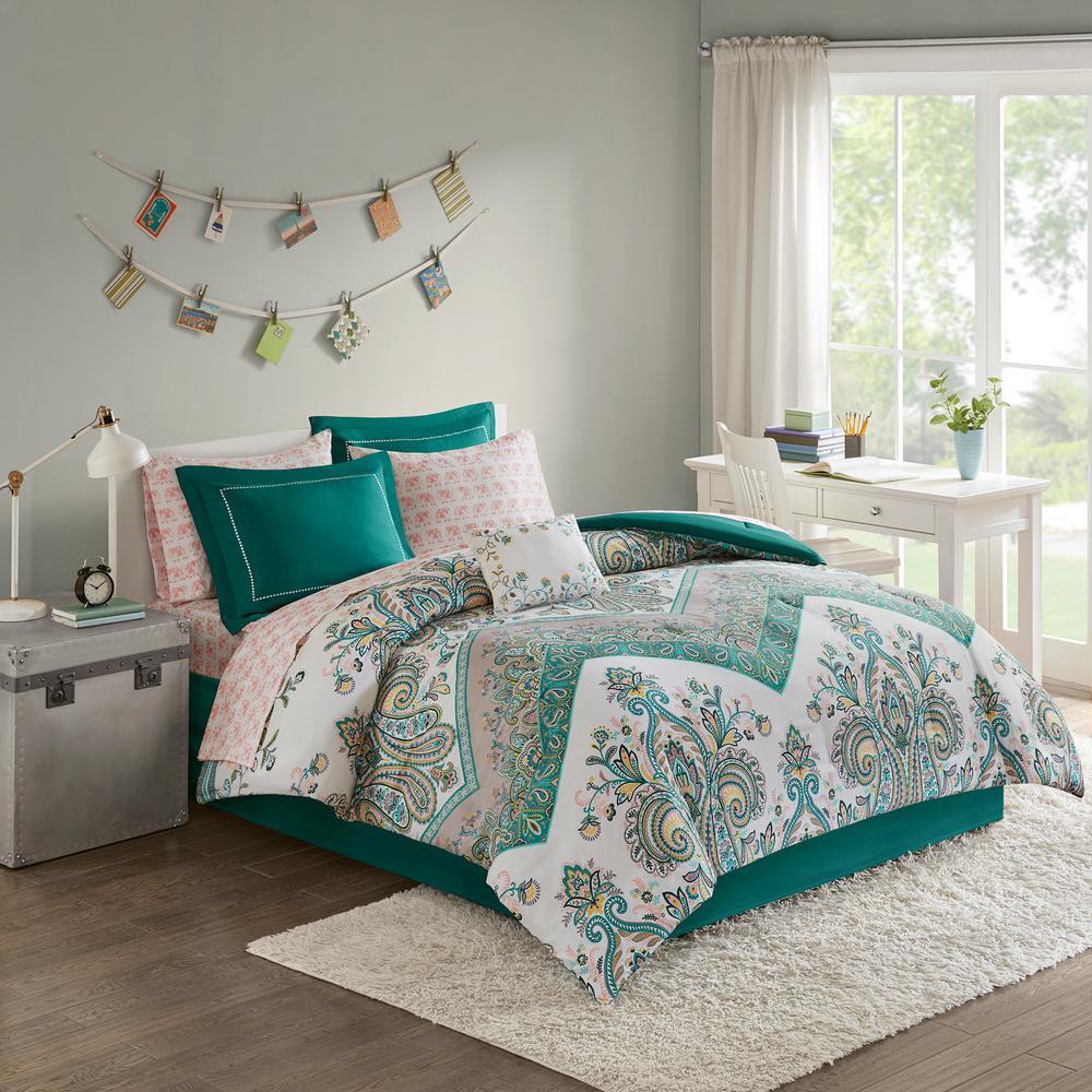 Layne 9 Piece Teal Full Boho Comforter Set