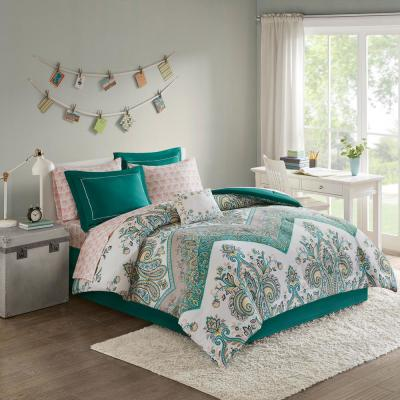 Layne 9-Piece Teal Queen Boho Comforter Set