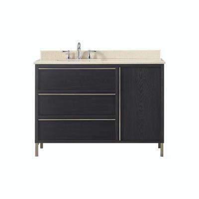 Westcourt 48 in. W x 22 in. D Vanity in Authentic Espresso with Marble Vanity Top in Beige with White Sink