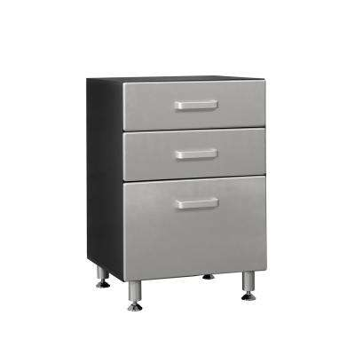 Metallic Series 35 in. H x 24 in. W x 21 in. D 3-Drawer Base Cabinet for Garage