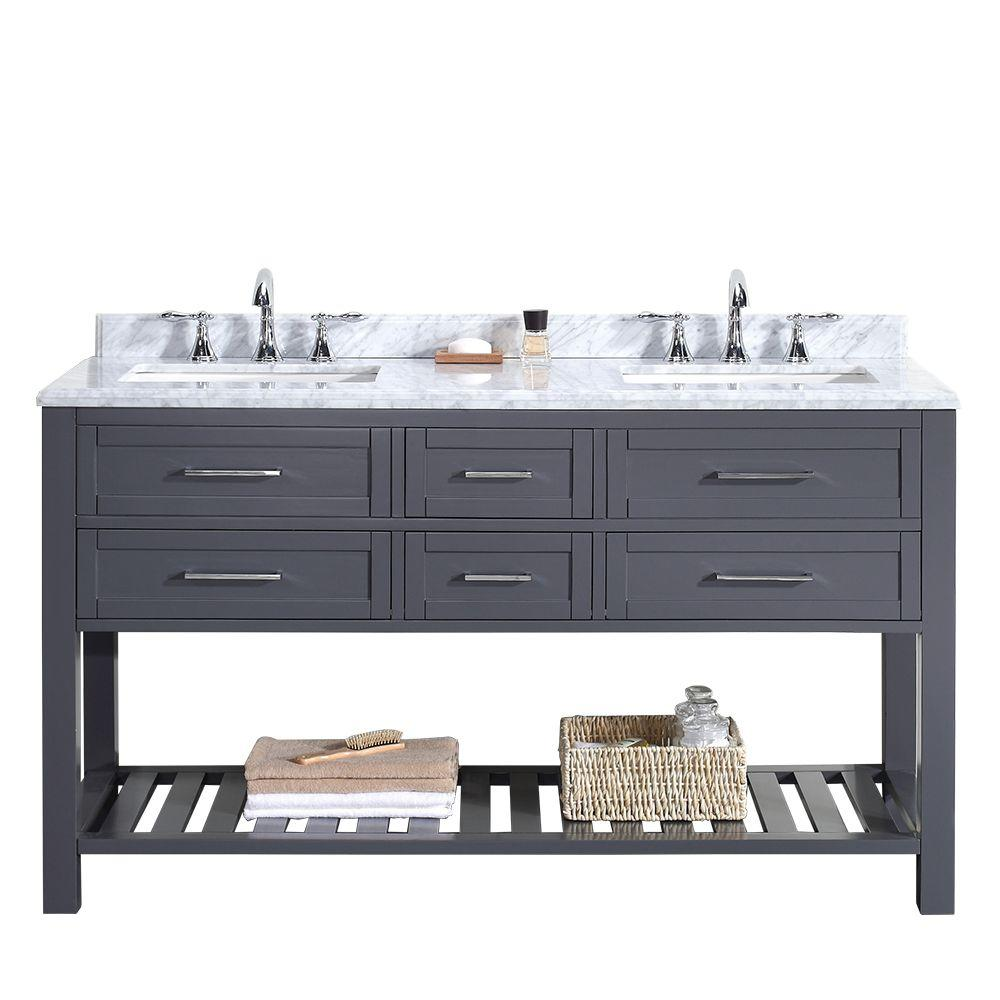 Ove Decors Vanity Dark Grey Marble Vanity Top White Basin