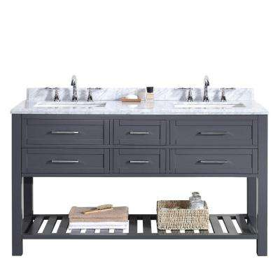 Pasadena 60 in. W x 22 in. D Vanity in Dark Grey with Marble Vanity Top in Carrara White with White Basin