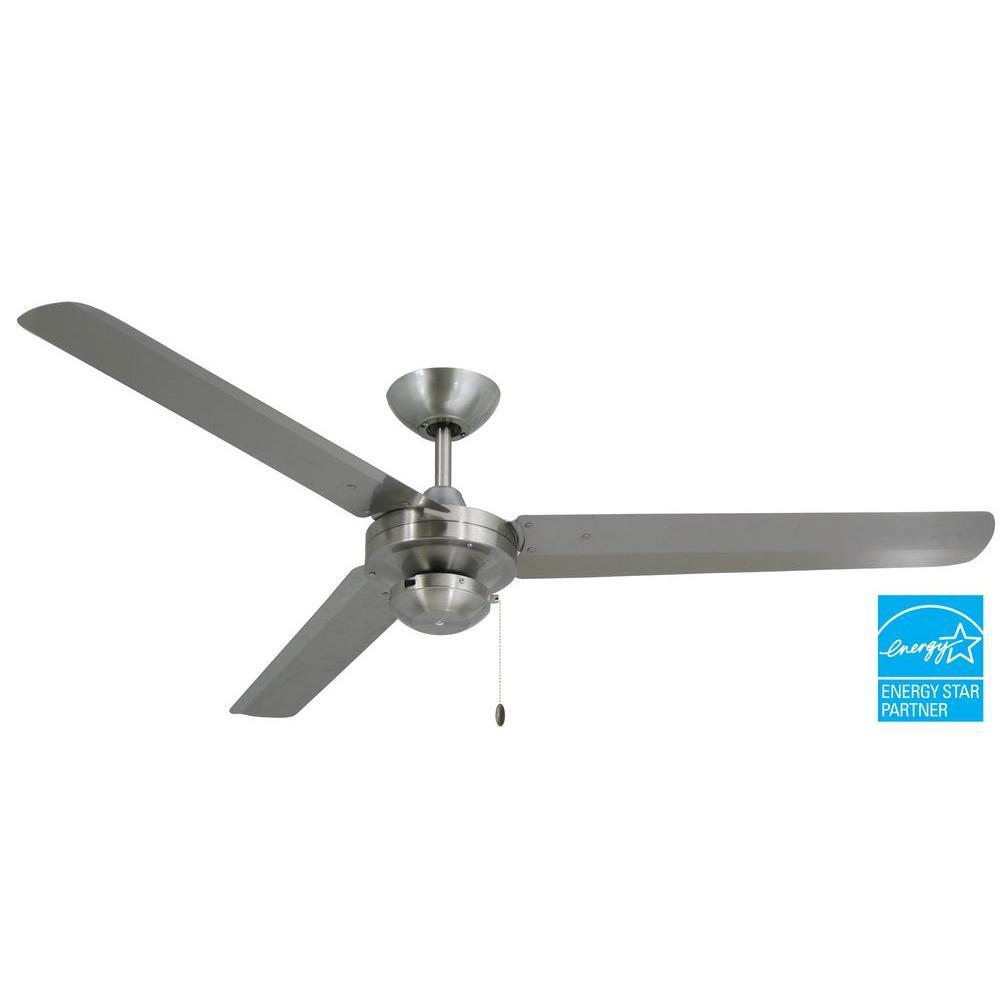 Tornado 56 in. Stainless Steel Indoor/Outdoor Ceiling Fan