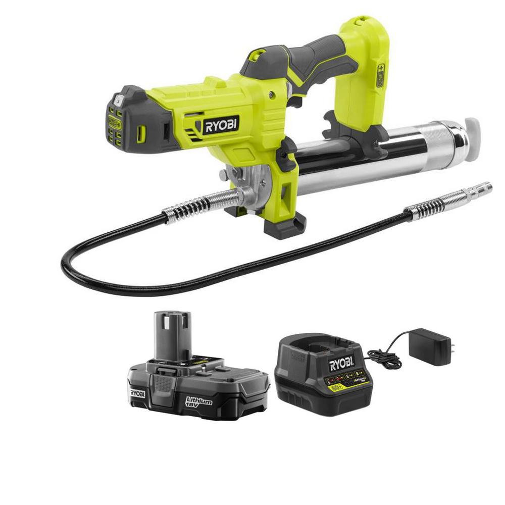 RYOBI 18Volts ONE+ Lithium-Ion Cordless Grease Gun Kit with 1.3 Ah Battery and Charger
