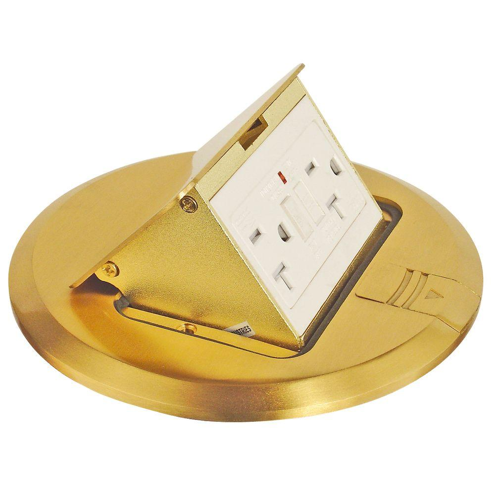 6 in. Brass Finish Pop-Up Floor Box Kit with 20 Amp