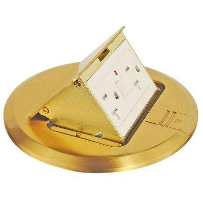 6 in. Brass Finish Pop-Up Floor Box Kit with 20 Amp GFI and Tamper-Weather Resistant Receptacle