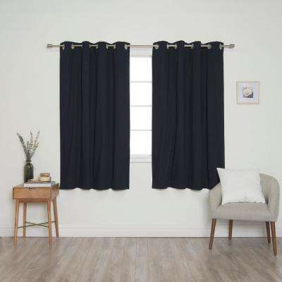 Navy Solid Cotton Blackout Thermal Grommet Curtain Panel Set - 52 in. x 63 in. (2-Panel)