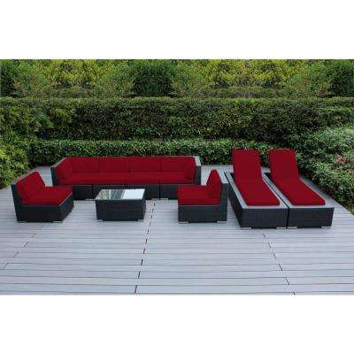 Black 9-Piece Wicker Patio Combo Conversation Set with Spuncrylic Red Cushions
