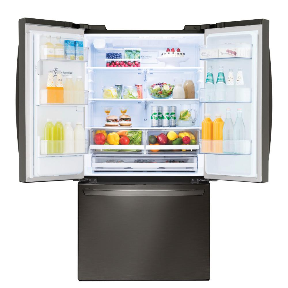 LG Electronics 22 cu  ft  French Door Smart Refrigerator with Wi-Fi Enabled  in Black Stainless Steel, Counter Depth