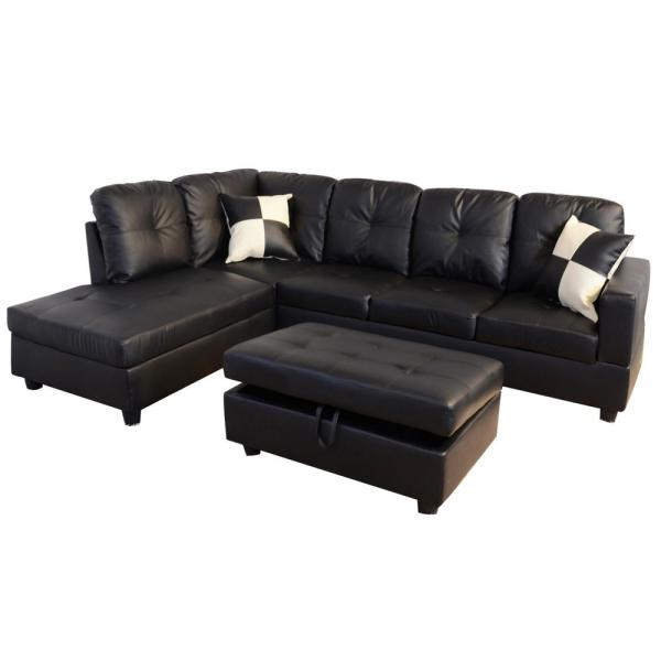 Black Faux Leather 3-Seater Left-Facing Chaise Sectional Sofa with Storage Ottoman