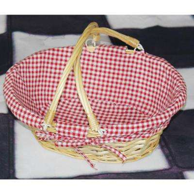 13 in. x 10.25 in. x 4.75 Oval Willow Basket with Double Drop Down Handles and Red White Plaid Lining