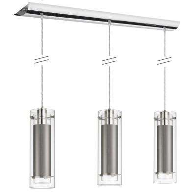 Nella 3-Light Polished Chrome Pendant with Clear Frosted Glass and Steel Fabric Sleeve Silver Wire