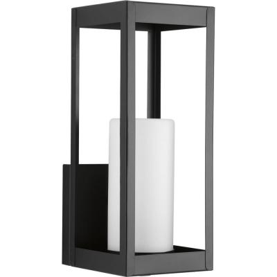 Patewood Collection 1-Light Black 14.5 in. Outdoor Wall Lantern Sconce