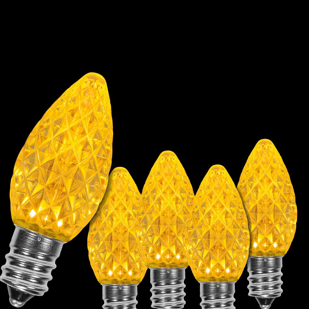 C7 Led Christmas Lights.Wintergreen Lighting Opticore C7 Led Gold Faceted Christmas Light Bulbs 25 Pack