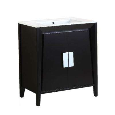 Clara 30 in. W x 18 in. D x 33 in. H Single Vanity in Dark Espresso with Ceramic Vanity Top in White with White Basin