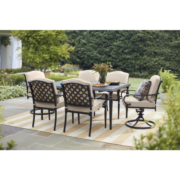 Hampton Bay Laurel Oaks 7 Piece Brown Steel Outdoor Patio Dining Set With Standard Putty Tan Cushions 525 0200 000 The Home Depot