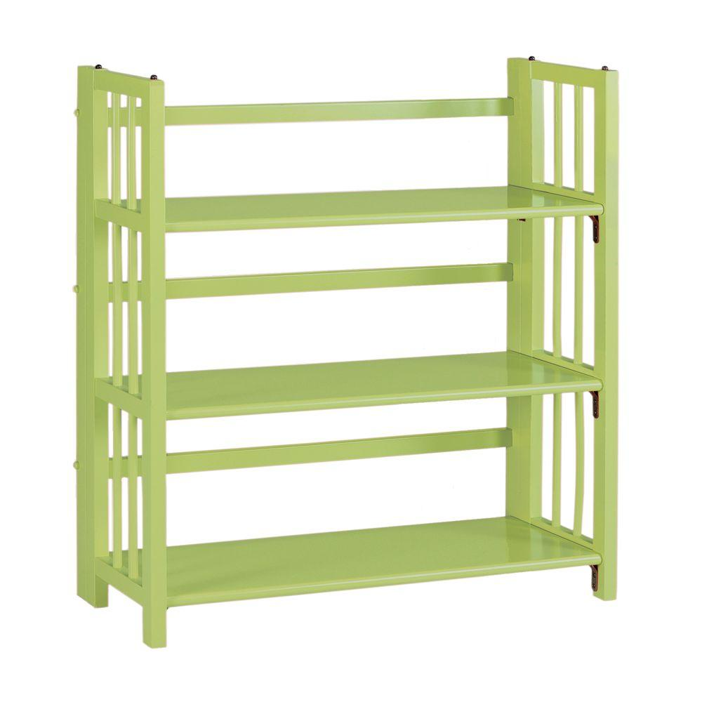 Home Decorators Collection Multimedia 25.5 in. W Green Folding and Stacking Bookcase