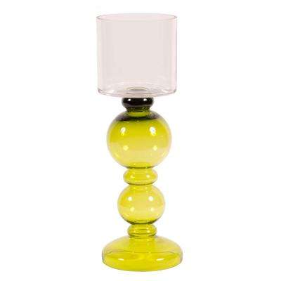 Small Green Hand-blown Candleholder with Clear Hurricane Top