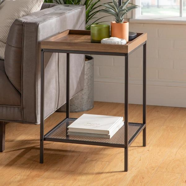 18 in. Rustic Oak Square Wood Side Table with Lower Mesh Shelf