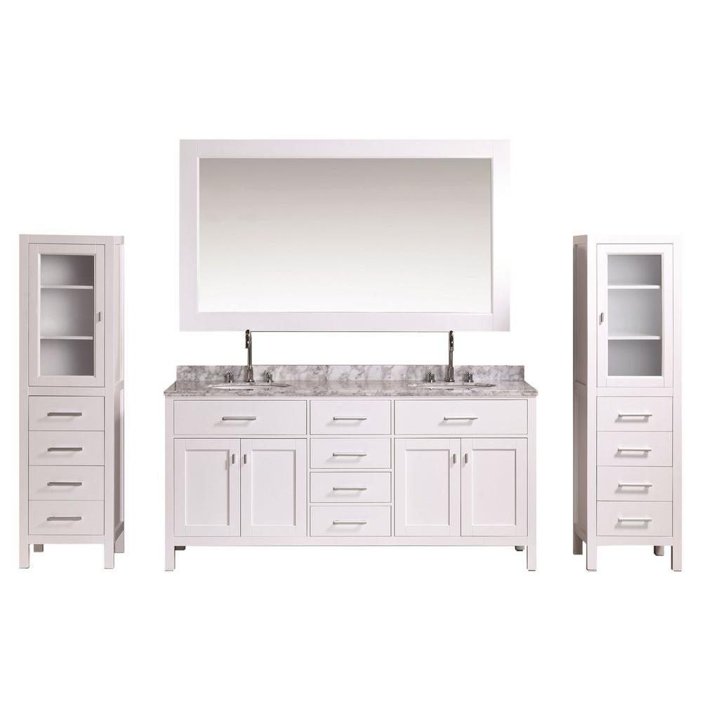 Design Element London 72 in. W x 22 in. D Vanity in White with Marble Vanity Top in Carrara White, Mirror and Linen Cabinet