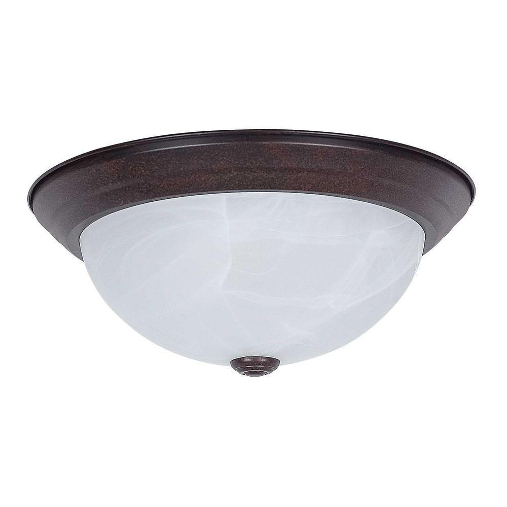Luminance 2 light rubbed bronze ceiling flush mount f7632 for Bronze flush mount light fixtures
