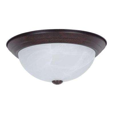 2-Light Rubbed Bronze Ceiling Flush Mount