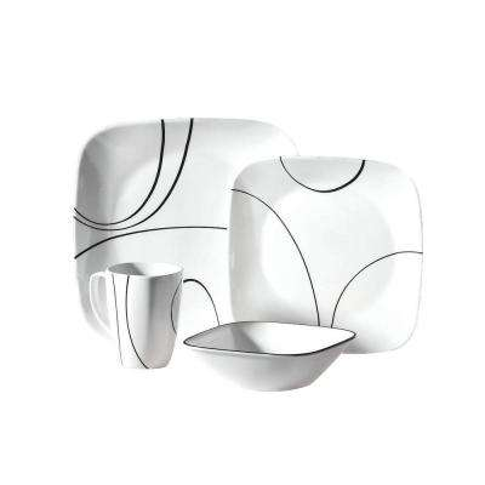 Square 16-Piece Simple Lines Dinnerware Set