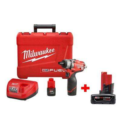 M12 FUEL 12-Volt Cordless Brushless 1/4 in. Hex 2-Speed Screwdriver Kit W/ Free 6.0Ah Battery