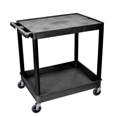 TC 24 in. W x 32 in. D  Large Flat Top and Tub Bottom Shelf Utility Cart Black