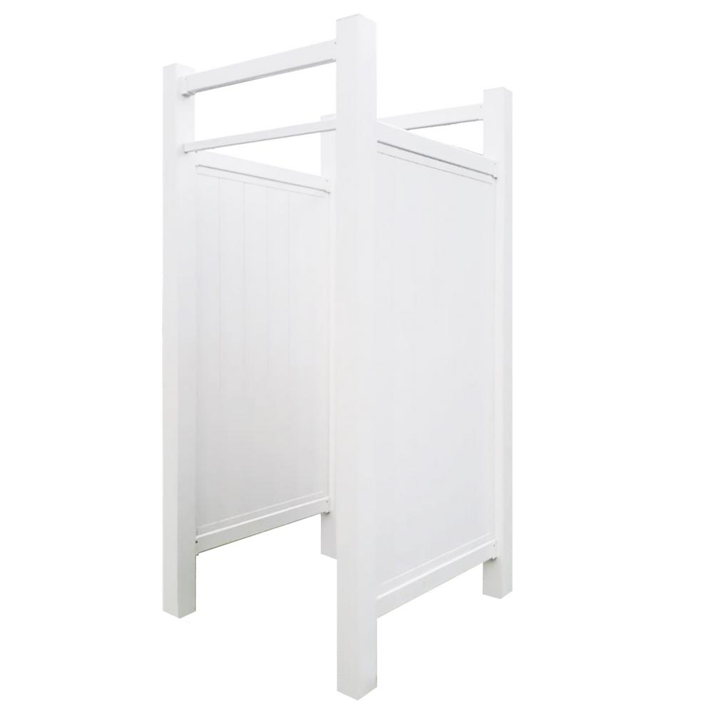 White Outdoor Shower Enclosure Vinyl Fence Panel With Aesthetic