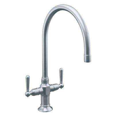 HiRise 2-Handle Standard Kitchen Faucet in Brushed Stainless-Steel