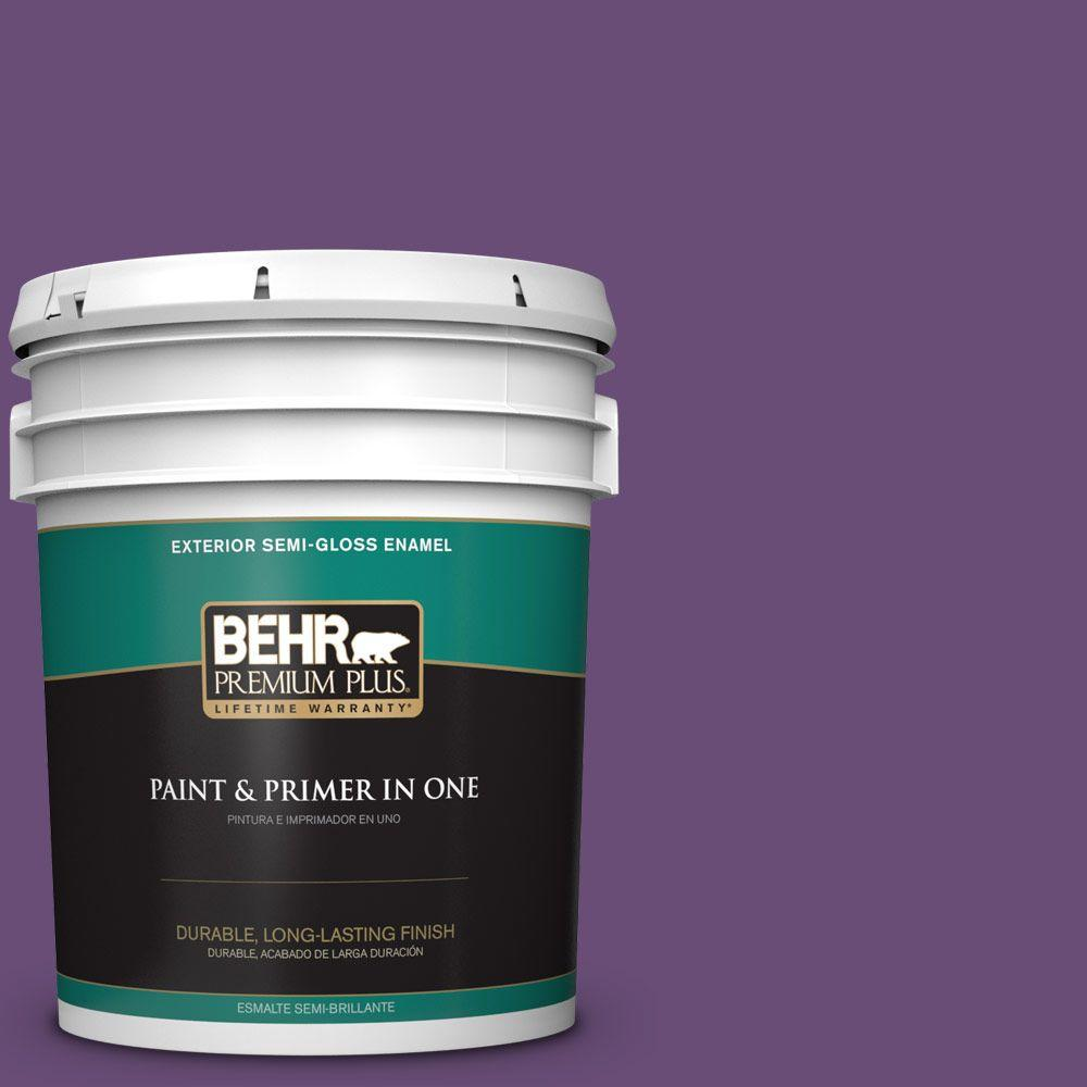 BEHR Premium Plus 5-gal. #660B-7 Exotic Purple Semi-Gloss Enamel Exterior Paint