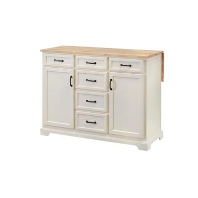 Home Decorators Collection Ivory Kitchen Island with Natural Butcher Block Top
