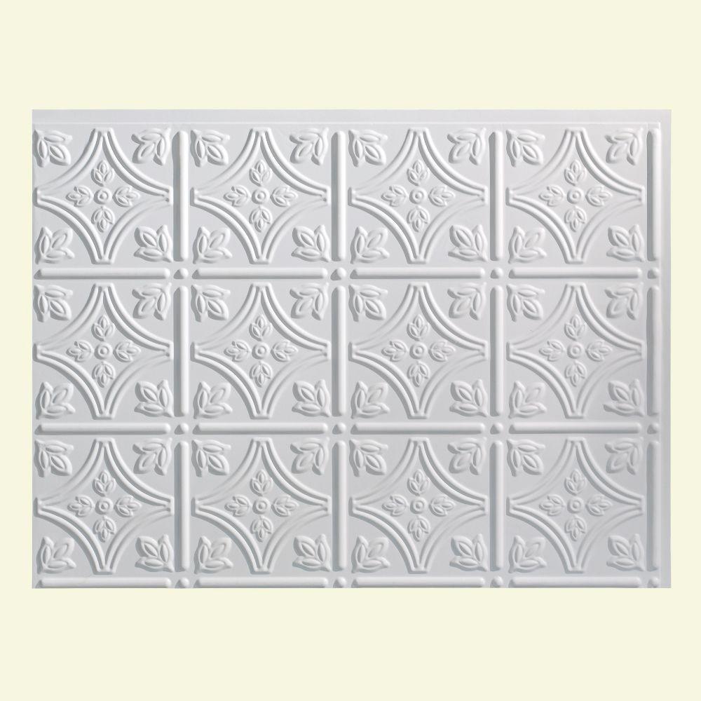 Traditional 1 18 in. x 24 in. Matte White Vinyl Decorative Wall Tile Backsplash 18 sq. ft. Kit