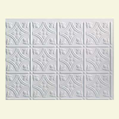 Traditional 1 18 in. x 24 in. Matte White Vinyl Decorative Wall Tile Backsplash 18 sq. ft. Kit